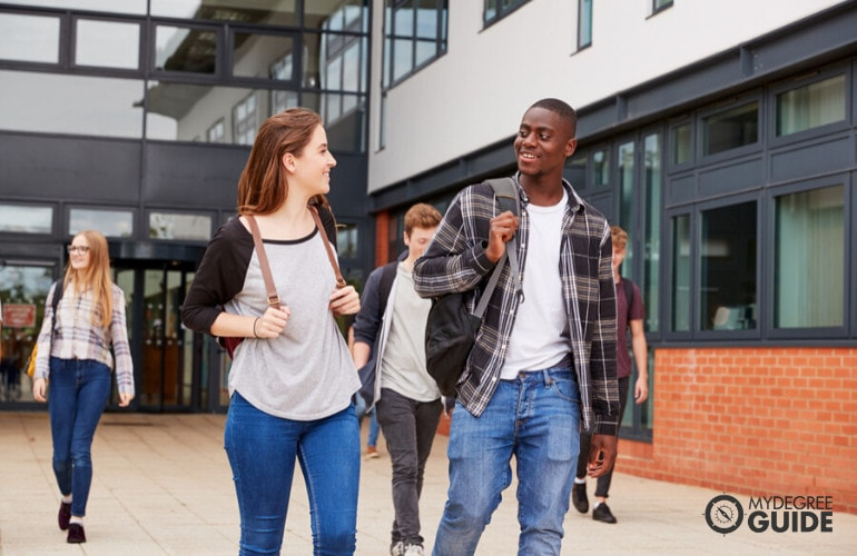 college students walking in university campus
