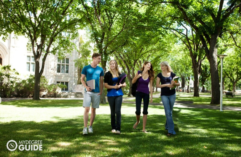 university students walking in a campus