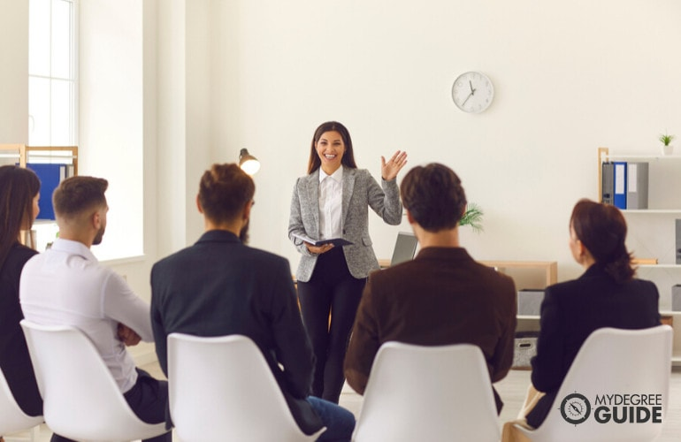 Forensic Psychologist in a meeting