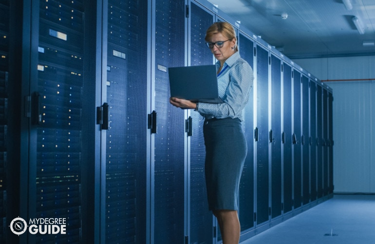 database manager working in data center