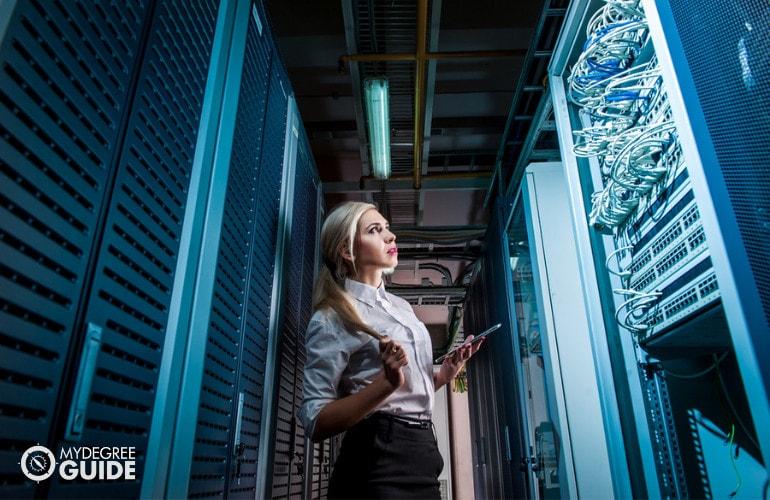 Database Administrator checking the data center