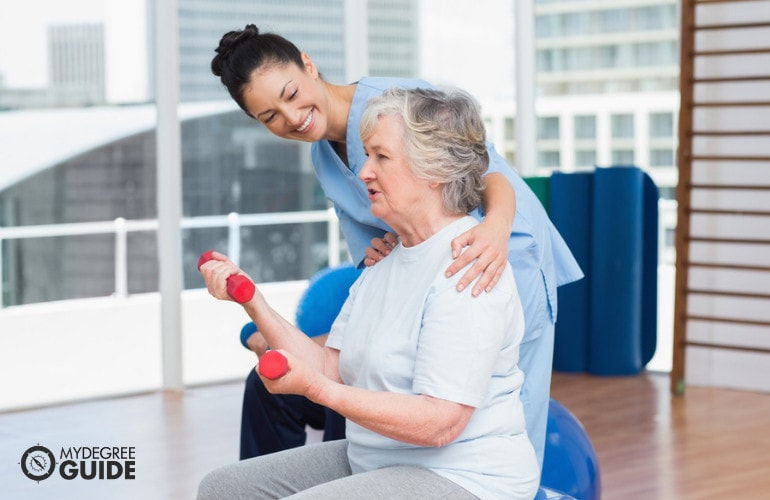 occupational therapy assistant with a patient