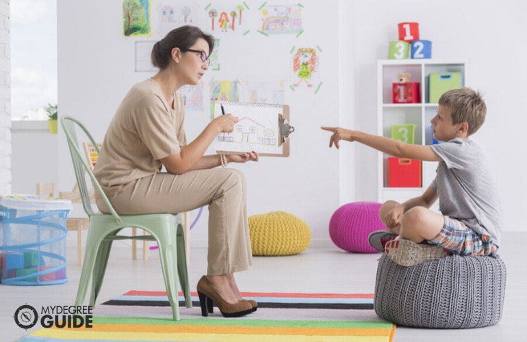 Behavioral Disorder Counselor with a child