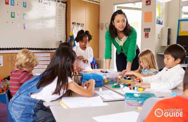 preschool teacher teaching