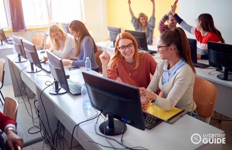 computer programming students in class