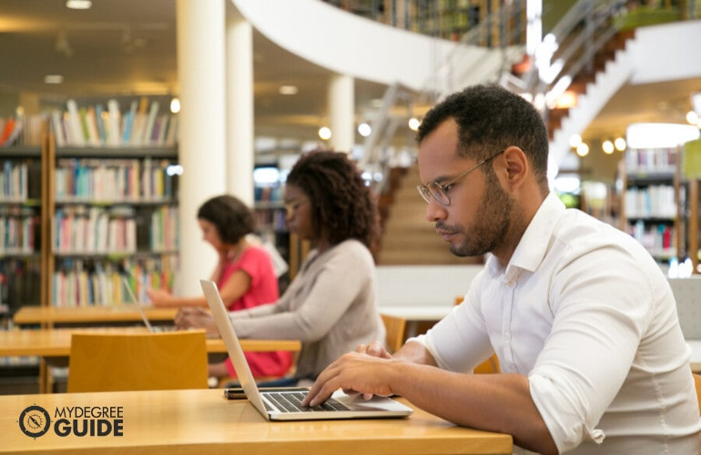 PhD students in library