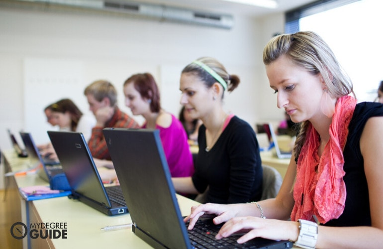 college students studying in university