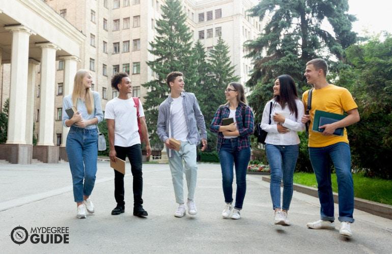 college students walking in university